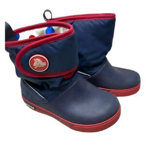 Crocs Baby Girls Crocband II.5 Gust Snow Booties Blue Hook Loop Round Toe 11 C