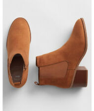 New GAP Women's Chelsea Brown Suede Ankle Boots Shoes Size 7 Block Heel