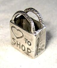 """""""♡ to SHOP"""" Fab BIG Sterling Silver Tote Shopping Bag 3-D Charm Pendant"""