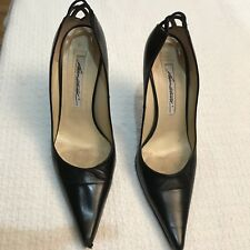 Size 9 Brian Atwood Black Leather Heels Pumps Dressy Womens Shoes