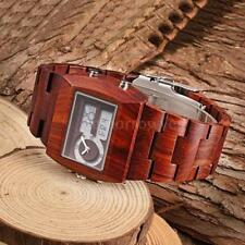 Wooden Strap Adult Wristwatches with 24-Hour Dial