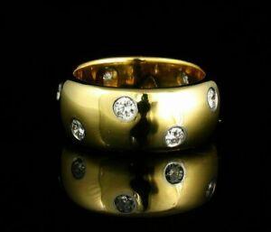 1/2CT ROUND DIAMOND ETOILE ETERNITY WEDDING BAND UNISEX 14K YELLOW GOLD FINISH