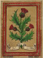 1880s Victorian Gilded Fabric Label Scotch Thistles Textiles 4.25 x 3.25