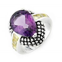 Sterling Silver Ring with Amethyst and Citrin Size 8