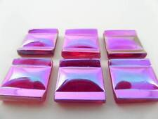 (6) VTG AB RED PINK PURPLE GLASS SQUARE TILE CABOCHONS CABS JEWELRY DESIGN CRAFT