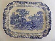 """Vintage 1930's Adams Blue Landscape Meatplate Platter 31 x 24cm 12 1/4"""" x 9 1/2"""""""