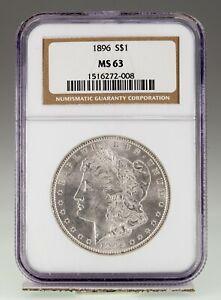 1896 $1 Silver Morgan Dollar Graded by NGC as MS63