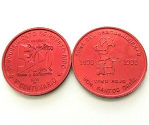 Medalla 500 Años 1993 QUINTO CENTENARIO Discovery of PUERTO RICO Cabo Rojo roja
