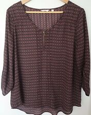 Reitmans Women's Petites Shirt Blouse Top Pleated Zipper 3/4 Sleeve Size XXL