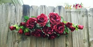Burgundy Roses Swag 2 ft Silk Wedding Flowers Arch Fake Centerpiece Artificial