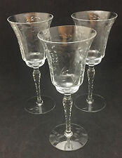 Dunstan Tall Water Goblets (set of 3) - Clear Glass with etched dots and stems