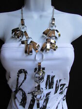 Necklace Chain Links Hollywood Hip Hop Women Long Silver Metal Big Rings Fashion
