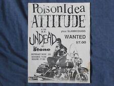 POISON IDEA ATTITUDE N.Y. UNDEAD Original 1987 Flyer US HC Punk KBD