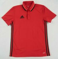 Adidas Women's Polyester Clima Lite S/S Red & Black Striped Polo Shirt - Small