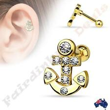 316L Surgical Steel Gold Ion Plated Tragus/Cartilage Stud with CZ Paved Anchor