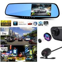 4.3'' 1080P HD Dual Lens Car DVR Camera Video Recorder Dash Cam Rearview Mirror