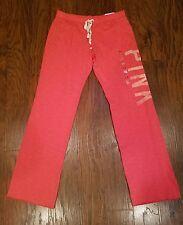 NWT Victorias Secret Pink Love Pink Logo Print Boyfriend Fit Sweat Pants Small S