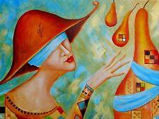 "Painting Original Fine Art OIL Russian Modern surrealism art Pronkin ""PEARS"""