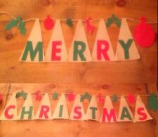 """ Merry Christmas "" Handmade Christmas Burlap Banner  7.5"" Ft ������"