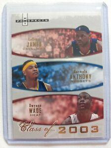 LeBron, Carmelo, Wade class of 2003 basketball card, SP 1161/2003.