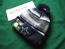 Dallas Cowboys New Era knit pom hat beanie 2014 -15 AUTHENTIC On Field Throwback