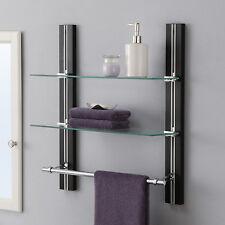 Bathroom Shelf Towel Bar Espresso Glass Wall mounted Accent Organizer Stand New