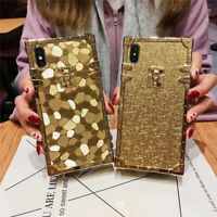 Luxury Gold Bumper Square Soft TPU Case Cover For iPhone X XS Max 6 7 8 Plus
