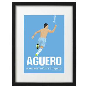 Sergio Aguero Manchester City art print / poster