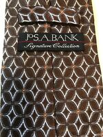 Jos. A. Bank Signature Collection Brown Silver Italy Woven Silk Tie- LONG 60.5""