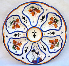 HB QUIMPER French Hand Painted Faience Oyster Plate Bretonne Jos Kervella A