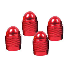 4pcs Red Wheel Tyre Tire Valve Stems Air Dust Cover Screw Caps Car Truck Bike