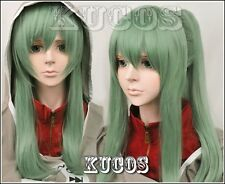 Kagerou Project Kido Tsubomi Long Green Straight Cosplay Costume Wig+wig cap