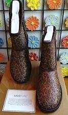 NIB UGG Bronze Glitter Leopard Classic Short Sheepskin Boot-Size 7