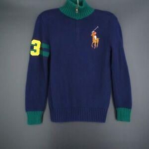 POLO Ralph Lauren Navy Blue 1/2 Half Zip Big Pony Sweater Kids Size M (10-12)