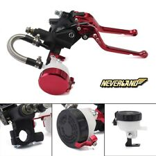 Universal 7/8'' Long Red Brake Clutch Levers Master Cylinder Reservoir For Honda