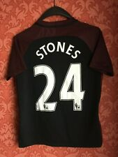 Manchester city 2016-2017 away football shirt jersey maglia Stones size L Boys