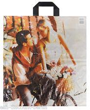 NEU 100 Plastiktüten Einkauf Tragetaschen im Paar Love Look 47x42cm Neutral TOP