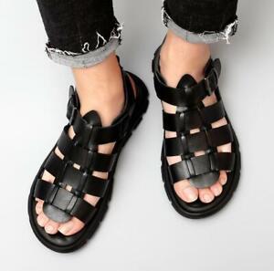 Roman Mens Leather Black Open Toe Buckle Straps Summer Beach Sandals Sport Shoes
