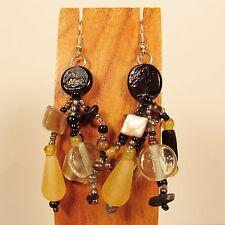 "2"" Black Multi Color Mixed Bead Bohemian Style Handmade Dangle Seed Bead Earring"