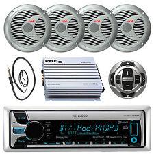 Marine Kenwood CD MP3 Bluetooth Radio Wired Remote,Amp,Antenna 4 Silver Speakers