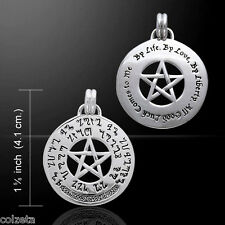 GOOD LUCK SPELL DOUBLE SIDED  PENTAGRAM PENDANT STERLING SILVER by Peter Stone