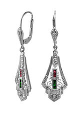 Art Deco Earrings with Rubies, Emeralds and Diamonds