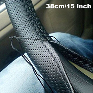 Universal Leather DIY Car Steering Wheel Cover Protector &Needle Thread 38cm