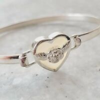 925 Sterling Silver Thailand Shell Rose Floral Heart Bangle Bracelet