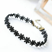 Women Elegant Vintage Daisy Flower Black Lace Chain Choker Necklace Jewelry Chic
