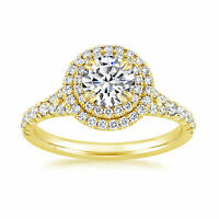 Solid BIS 14K Yellow Gold Solitaire D/VVS 1.40Ct Diamond Engagement Ring Size N