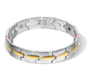 """Men Titanium Stainless Steel Pain Relief 2 Tone Magnetic Therapy Bracelet 8.25"""""""