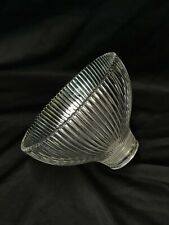 """Vtg HOLOPHANE Glass Lamp Shade Ribbed Prismatic Pendant 5.25x3.5 1 5/8"""" 1.75 Fit"""