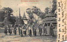 Burma Myanmar Hpoongyees collecting alms Rangoon Postcard