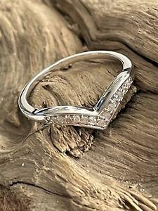 Vintage 925 Silver & Diamond Set Wishbone V-shaped Dress Ring Size M Christmas
